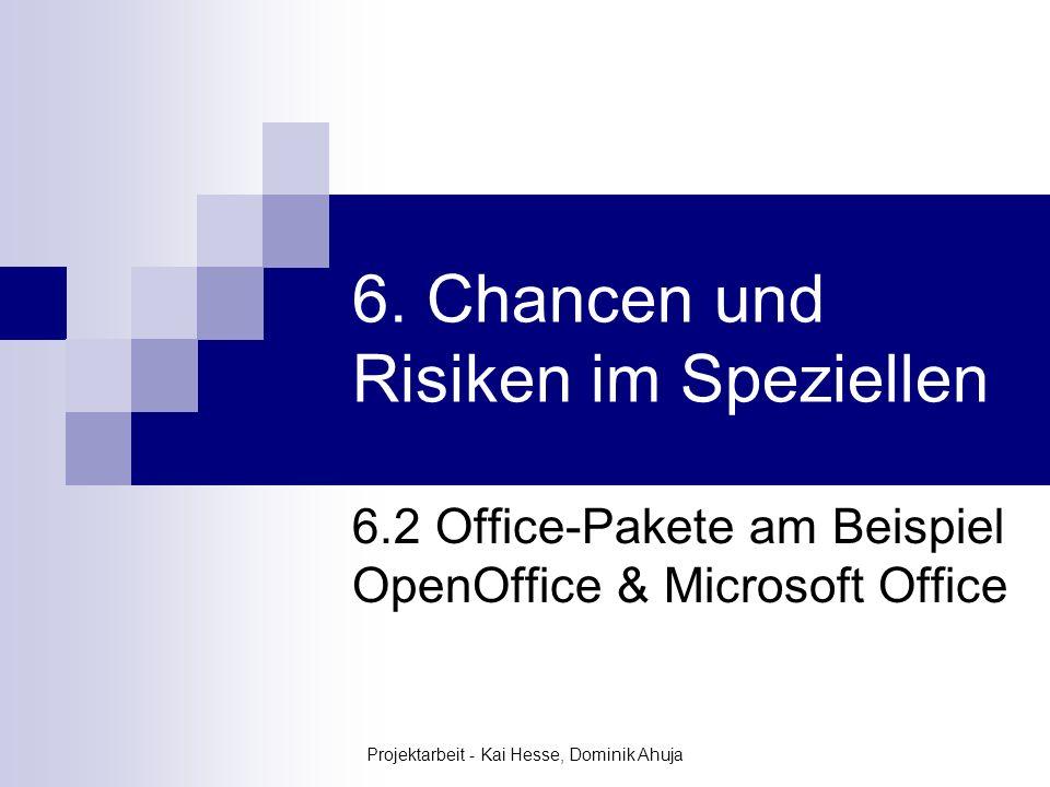 Projektarbeit - Kai Hesse, Dominik Ahuja 6. Chancen und Risiken im Speziellen 6.2 Office-Pakete am Beispiel OpenOffice & Microsoft Office