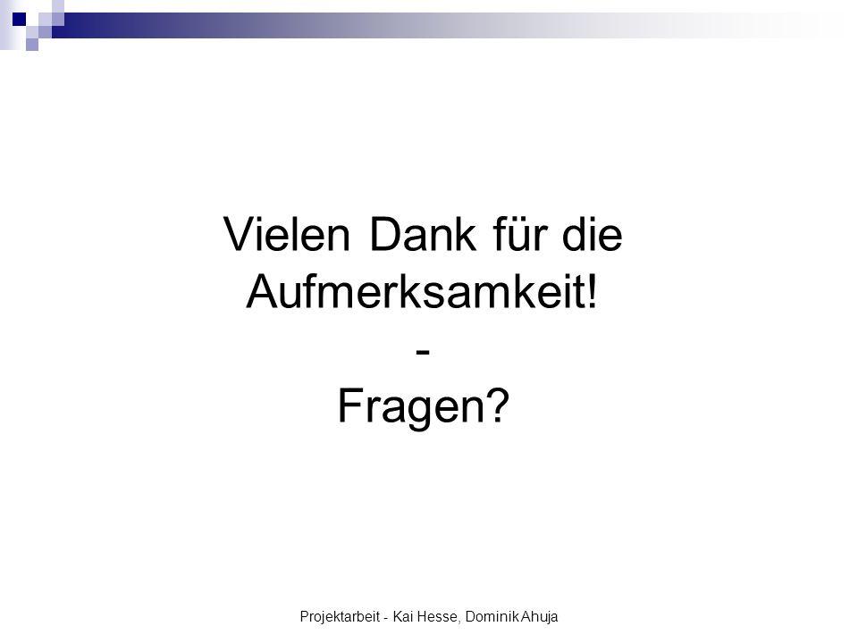Projektarbeit - Kai Hesse, Dominik Ahuja Vielen Dank für die Aufmerksamkeit! - Fragen?