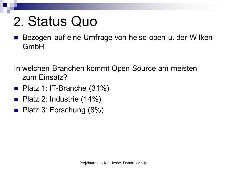 Projektarbeit - Kai Hesse, Dominik Ahuja 2. Status Quo Bezogen auf eine Umfrage von heise open u. der Wilken GmbH In welchen Branchen kommt Open Sourc