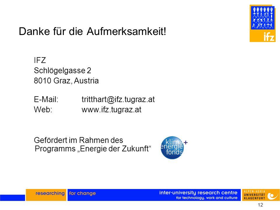 12 Danke für die Aufmerksamkeit! IFZ Schlögelgasse 2 8010 Graz, Austria E-Mail:tritthart@ifz.tugraz.at Web:www.ifz.tugraz.at Gefördert im Rahmen des P