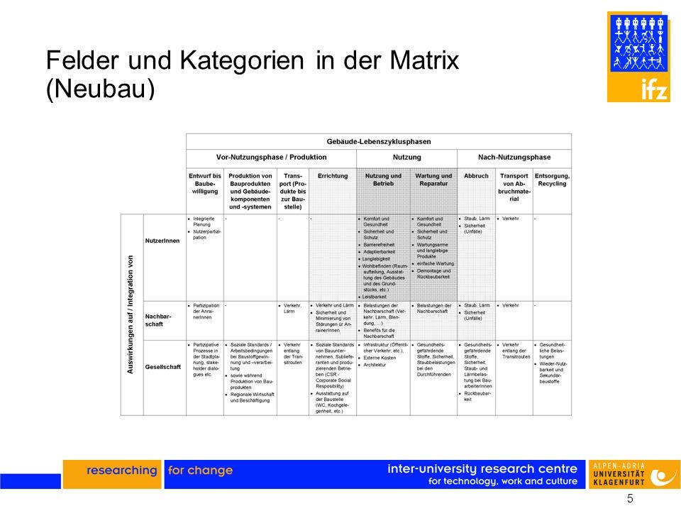 5 Felder und Kategorien in der Matrix (Neubau)