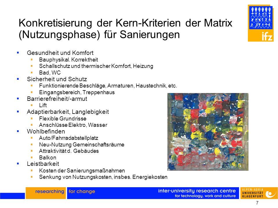 7 Konkretisierung der Kern-Kriterien der Matrix (Nutzungsphase) für Sanierungen Gesundheit und Komfort Bauphysikal. Korrektheit Schallschutz und therm