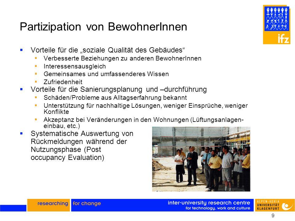 9 Partizipation von BewohnerInnen Vorteile für die soziale Qualität des Gebäudes Verbesserte Beziehungen zu anderen BewohnerInnen Interessensausgleich