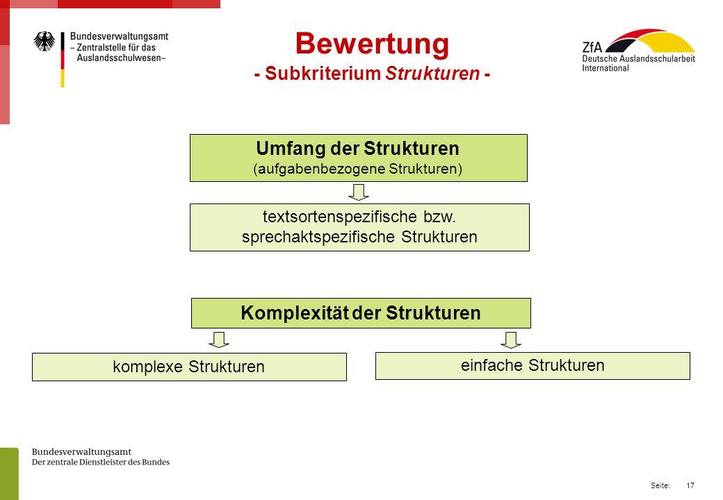 17 Seite: Bewertung - Subkriterium Strukturen - textsortenspezifische bzw.