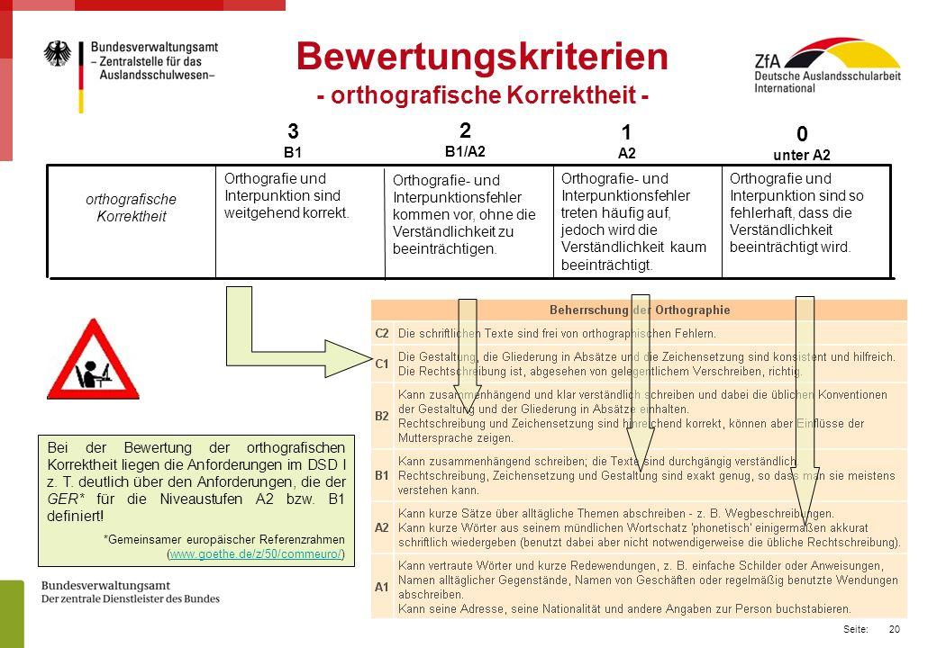 20 Seite: Bewertungskriterien - orthografische Korrektheit - 0 unter A2 1 A2 2 B1/A2 3 B1 Bei der Bewertung der orthografischen Korrektheit liegen die Anforderungen im DSD I z.