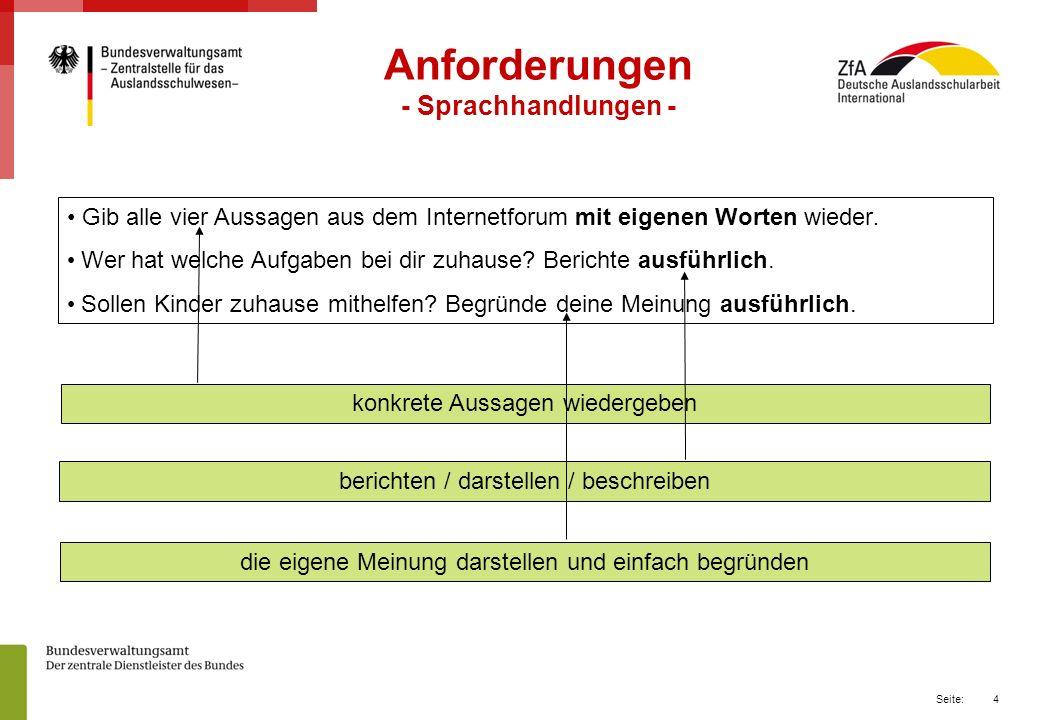 4 Seite: Anforderungen - Sprachhandlungen - Gib alle vier Aussagen aus dem Internetforum mit eigenen Worten wieder.