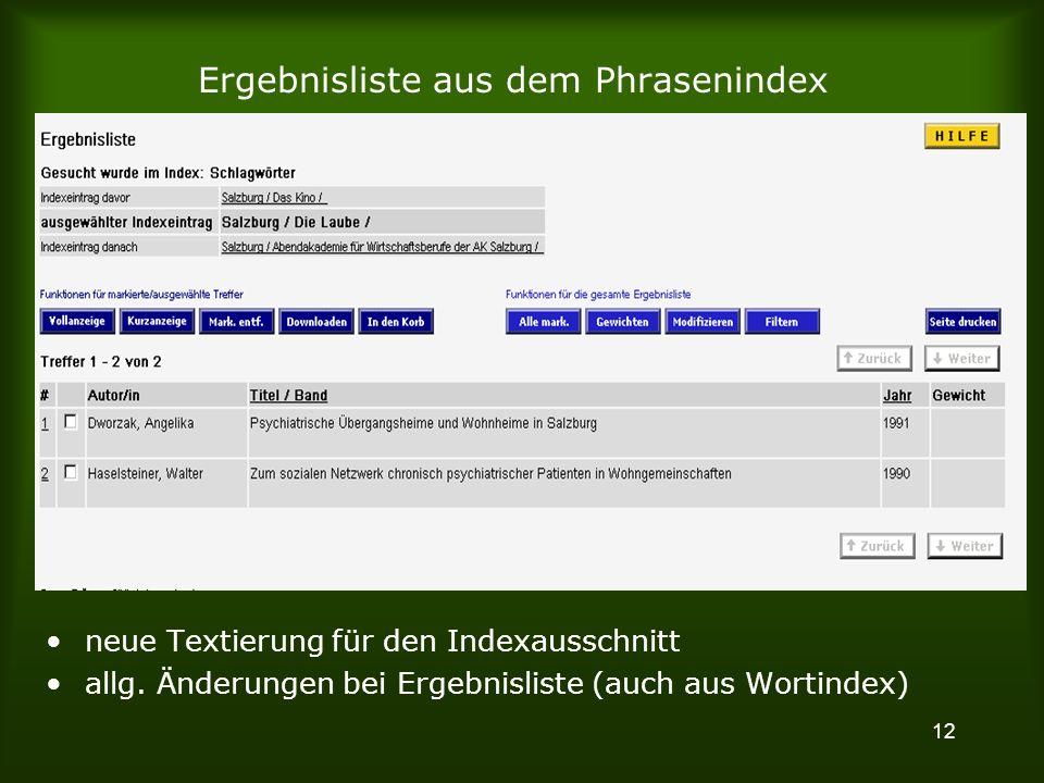 12 Ergebnisliste aus dem Phrasenindex neue Textierung für den Indexausschnitt allg.
