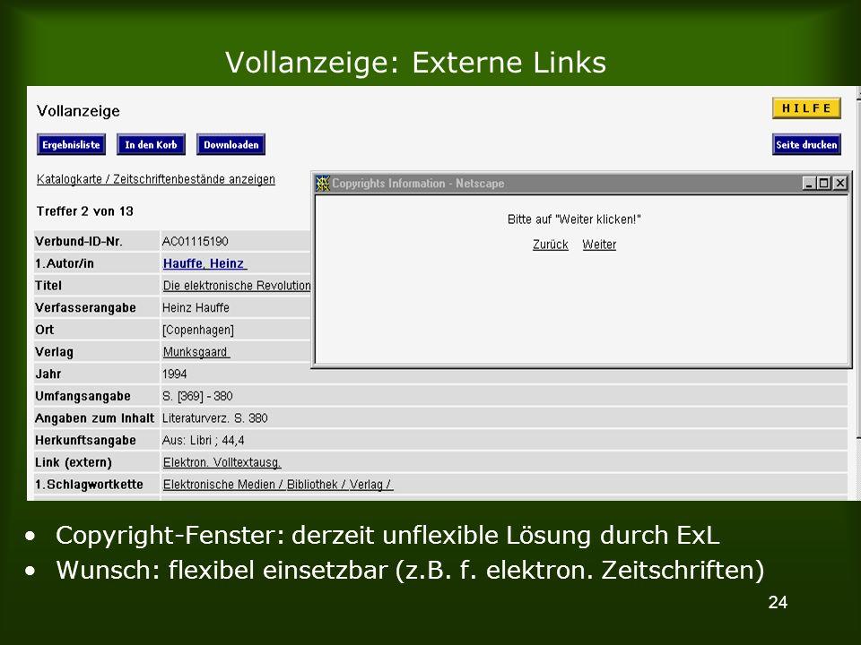 24 Vollanzeige: Externe Links Copyright-Fenster: derzeit unflexible Lösung durch ExL Wunsch: flexibel einsetzbar (z.B.