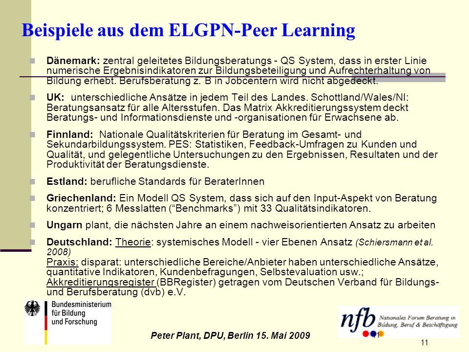 11 Peter Plant, DPU, Berlin 15. Mai 2009 11 Beispiele aus dem ELGPN-Peer Learning Dänemark: zentral geleitetes Bildungsberatungs - QS System, dass in