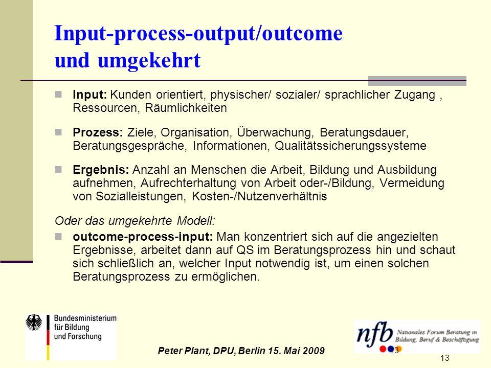 13 Peter Plant, DPU, Berlin 15. Mai 2009 13 Input-process-output/outcome und umgekehrt Input: Kunden orientiert, physischer/ sozialer/ sprachlicher Zu