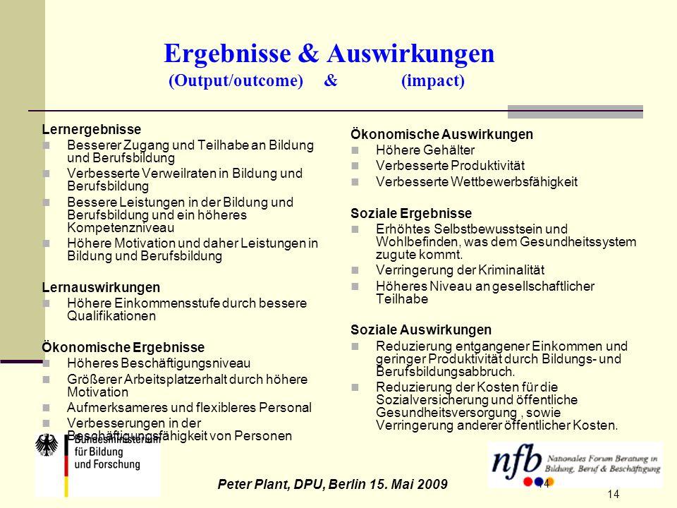 14 Peter Plant, DPU, Berlin 15. Mai 2009 14 Ergebnisse & Auswirkungen (Output/outcome) & (impact) Lernergebnisse Besserer Zugang und Teilhabe an Bildu