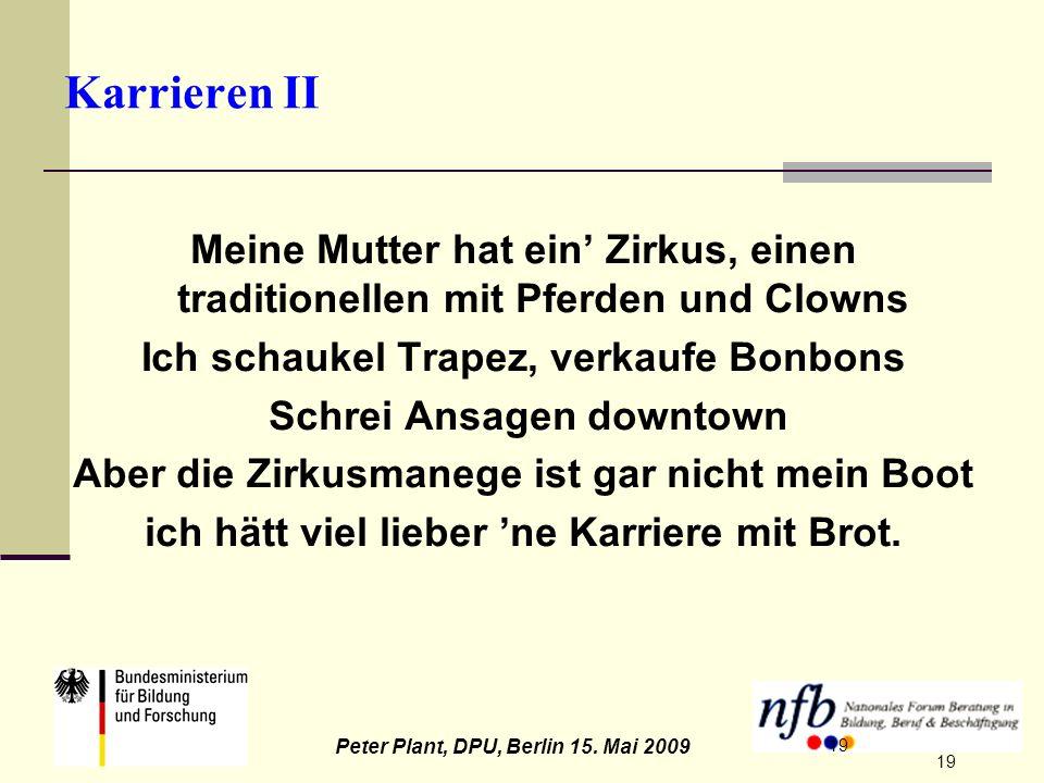 19 Peter Plant, DPU, Berlin 15. Mai 2009 19 Karrieren II Meine Mutter hat ein Zirkus, einen traditionellen mit Pferden und Clowns Ich schaukel Trapez,