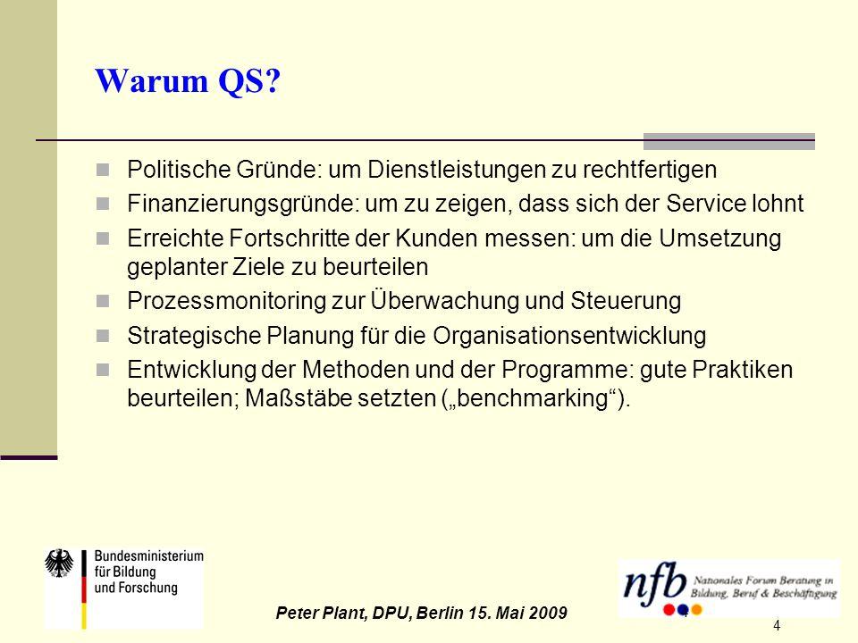 4 Peter Plant, DPU, Berlin 15. Mai 2009 4 Warum QS? Politische Gründe: um Dienstleistungen zu rechtfertigen Finanzierungsgründe: um zu zeigen, dass si