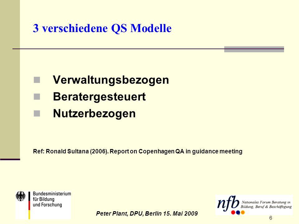 6 Peter Plant, DPU, Berlin 15. Mai 2009 6 3 verschiedene QS Modelle Verwaltungsbezogen Beratergesteuert Nutzerbezogen Ref: Ronald Sultana (2006). Repo