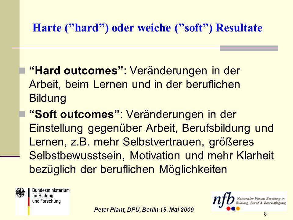 8 Peter Plant, DPU, Berlin 15. Mai 2009 8 Harte (hard) oder weiche (soft) Resultate Hard outcomes: Veränderungen in der Arbeit, beim Lernen und in der