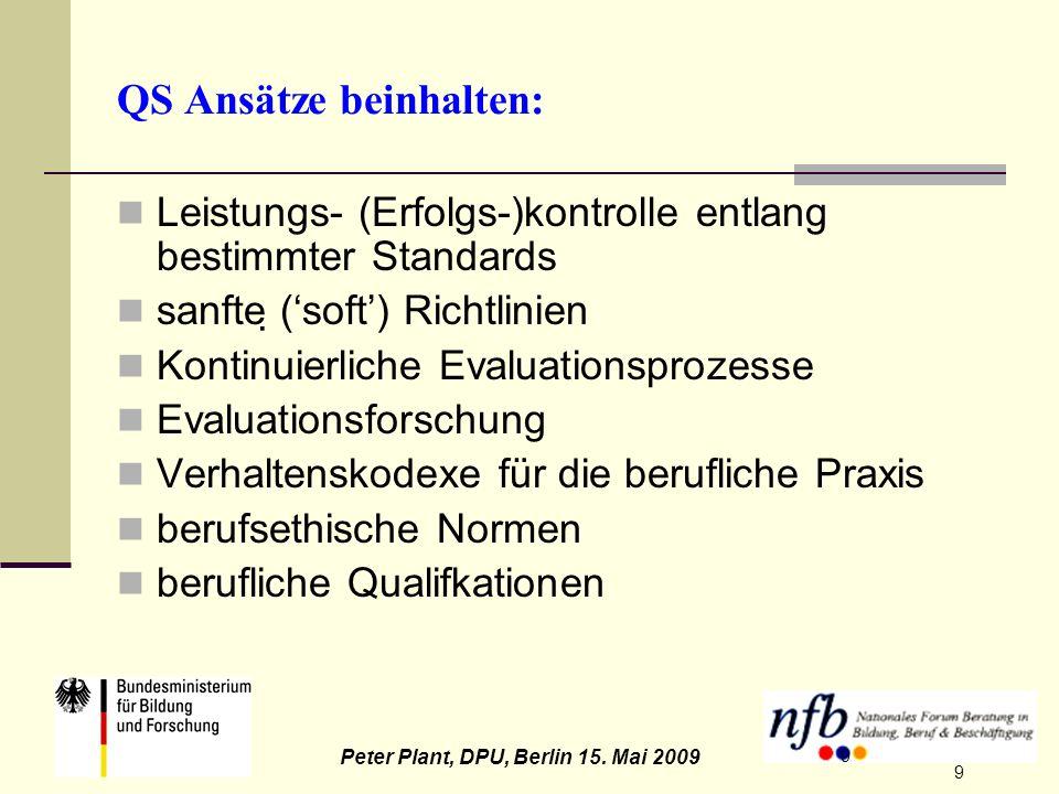 9 Peter Plant, DPU, Berlin 15. Mai 2009 9 QS Ansätze beinhalten: Leistungs- (Erfolgs-)kontrolle entlang bestimmter Standards sanfte (soft) Richtlinien