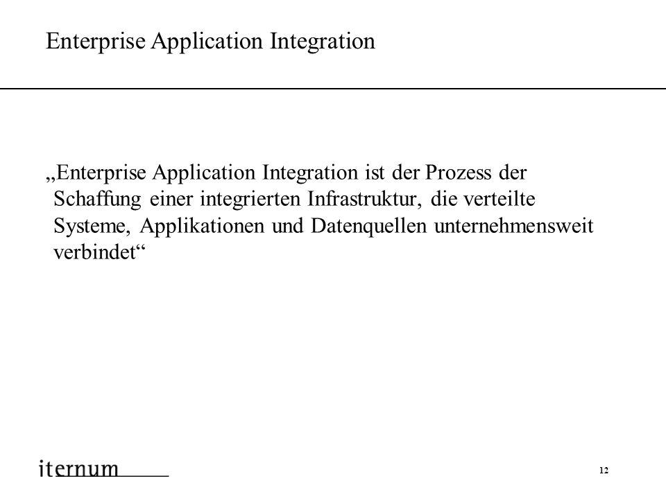 12 Enterprise Application Integration Enterprise Application Integration ist der Prozess der Schaffung einer integrierten Infrastruktur, die verteilte