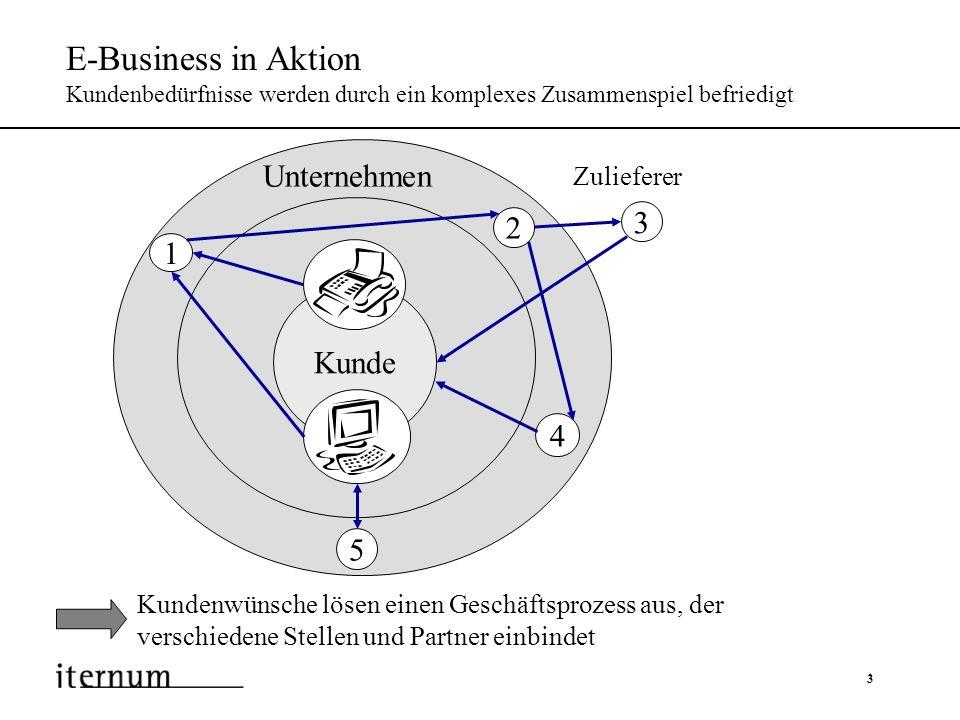 4 E-Business in Aktion Kundenbedürfnisse werden durch ein komplexes Zusammenspiel befriedigt Kundenaufträge gehen über Vertriebskanäle ein 1 Kunde Zulieferer Unternehmen 1 2 4 5 3
