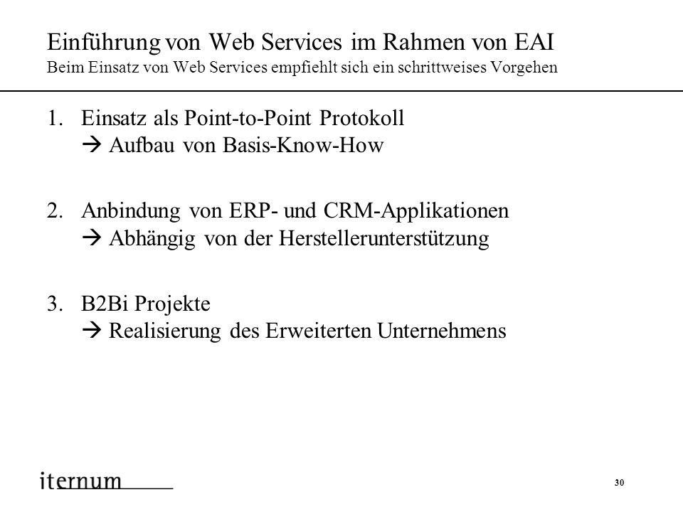 30 Einführung von Web Services im Rahmen von EAI Beim Einsatz von Web Services empfiehlt sich ein schrittweises Vorgehen 1.Einsatz als Point-to-Point