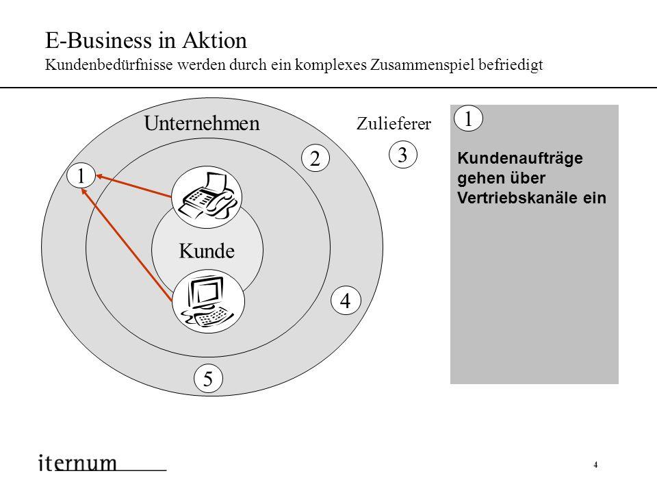 5 E-Business in Aktion Kundenbedürfnisse werden durch ein komplexes Zusammenspiel befriedigt Kundenaufträge gehen über Vertriebskanäle ein 1 Aufträge werden verbucht und in Produktion ein- geplant oder an Zulieferer weitergeleitet 2 Kunde Zulieferer Unternehmen 1 2 4 5 3