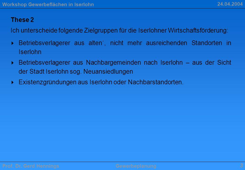 Workshop Gewerbeflächen in Iserlohn Prof. Dr. Gerd HenningsGewerbeplanung 3 24.04.2004 These 2 Ich unterscheide folgende Zielgruppen für die Iserlohne
