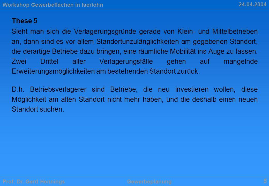 Workshop Gewerbeflächen in Iserlohn Prof. Dr. Gerd HenningsGewerbeplanung 5 24.04.2004 These 5 Sieht man sich die Verlagerungsgründe gerade von Klein-