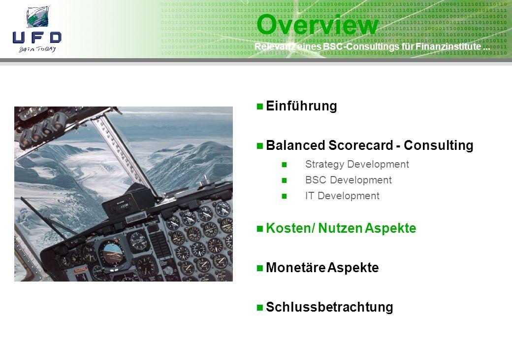 Relevanz eines BSC-Consultings für Finanzinstitute... Einführung Balanced Scorecard - Consulting Strategy Development BSC Development IT Development K