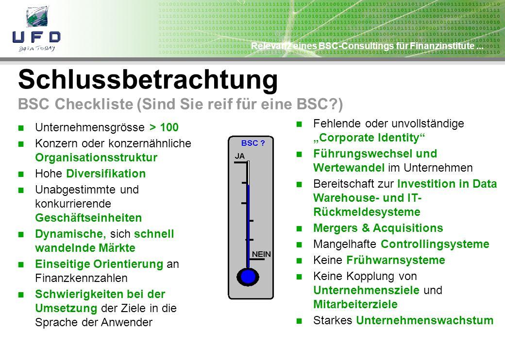 Relevanz eines BSC-Consultings für Finanzinstitute... Schlussbetrachtung BSC Checkliste (Sind Sie reif für eine BSC?) Unternehmensgrösse > 100 Konzern