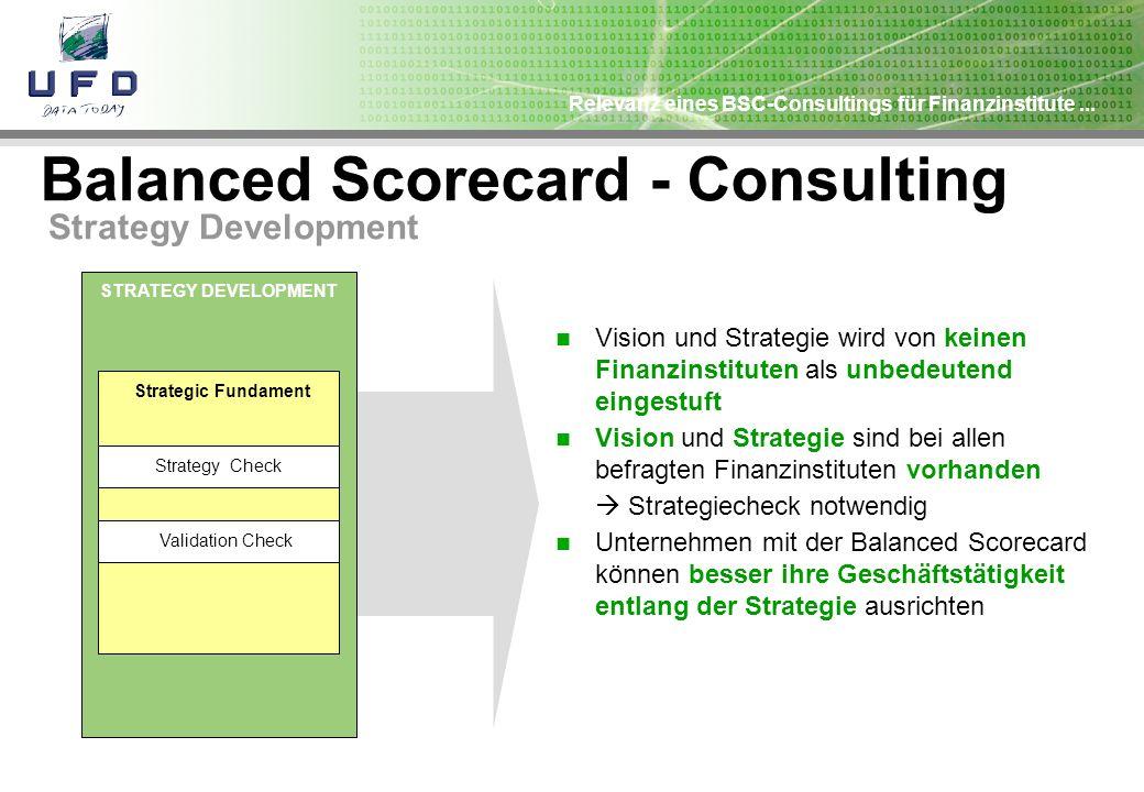 Relevanz eines BSC-Consultings für Finanzinstitute... Balanced Scorecard - Consulting Strategy Development STRATEGY DEVELOPMENT Strategic Fundament St