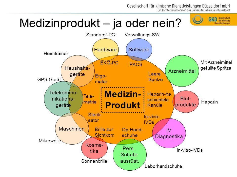 Grundprinzip: Hersteller entscheidet ABER: Das letzte Wort hat die Aufsichtsbehörde: § 32 Aufgaben und Zuständigkeiten der Bundesoberbehörden im Medizinproduktebereich (1)Das Bundesinstitut für Arzneimittel und Medizinprodukte ist insbesondere zuständig für...