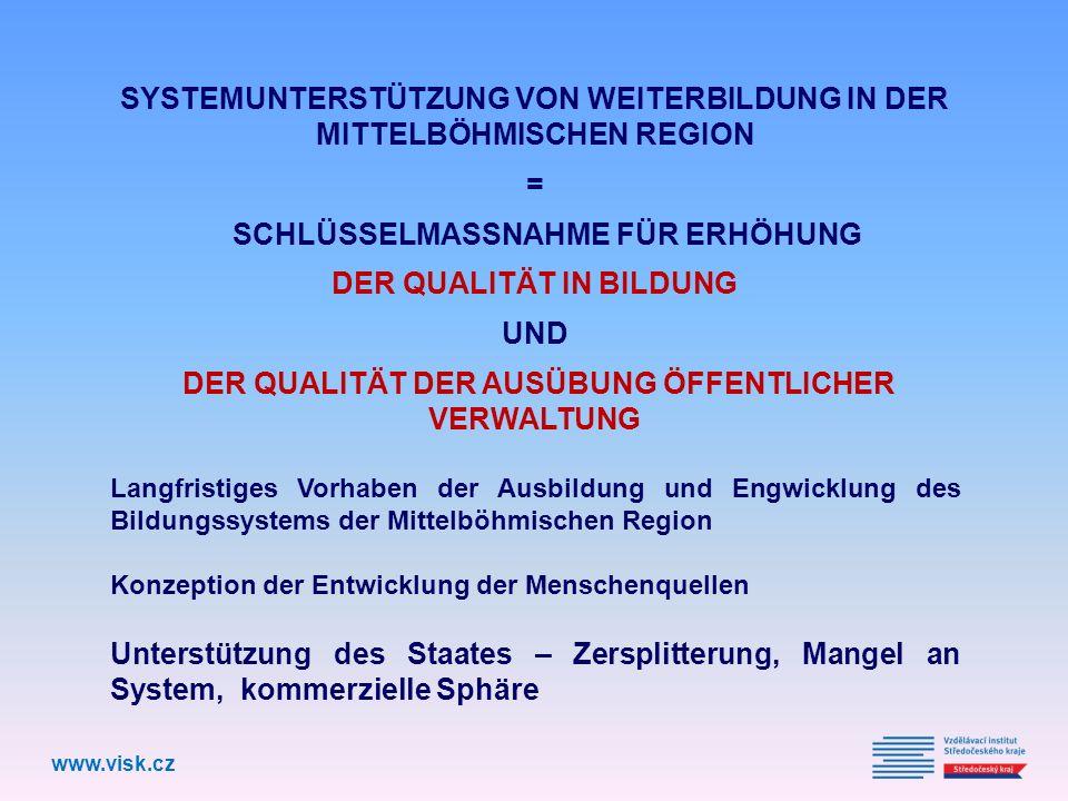 SYSTEMUNTERSTÜTZUNG VON WEITERBILDUNG IN DER MITTELBÖHMISCHEN REGION = SCHLÜSSELMASSNAHME FÜR ERHÖHUNG DER QUALITÄT IN BILDUNG UND DER QUALITÄT DER AUSÜBUNG ÖFFENTLICHER VERWALTUNG Langfristiges Vorhaben der Ausbildung und Engwicklung des Bildungssystems der Mittelböhmischen Region Konzeption der Entwicklung der Menschenquellen Unterstützung des Staates – Zersplitterung, Mangel an System, kommerzielle Sphäre www.visk.cz