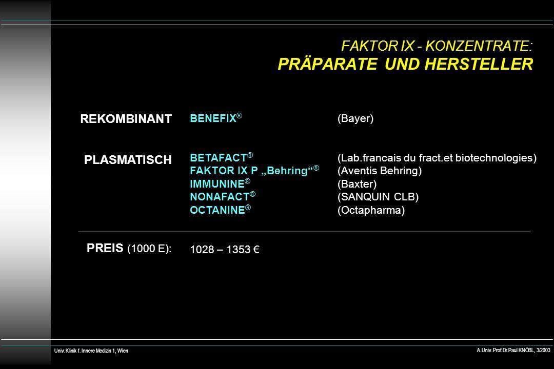 FAKTOR IX - KONZENTRATE: PRÄPARATE UND HERSTELLER REKOMBINANT PLASMATISCH PREIS (1000 E): BENEFIX ® (Bayer) BETAFACT ® (Lab.francais du fract.et biotechnologies) FAKTOR IX P Behring ® (Aventis Behring) IMMUNINE ® (Baxter) NONAFACT ® (SANQUIN CLB) OCTANINE ® (Octapharma) 1028 – 1353 Univ.Klinik f.
