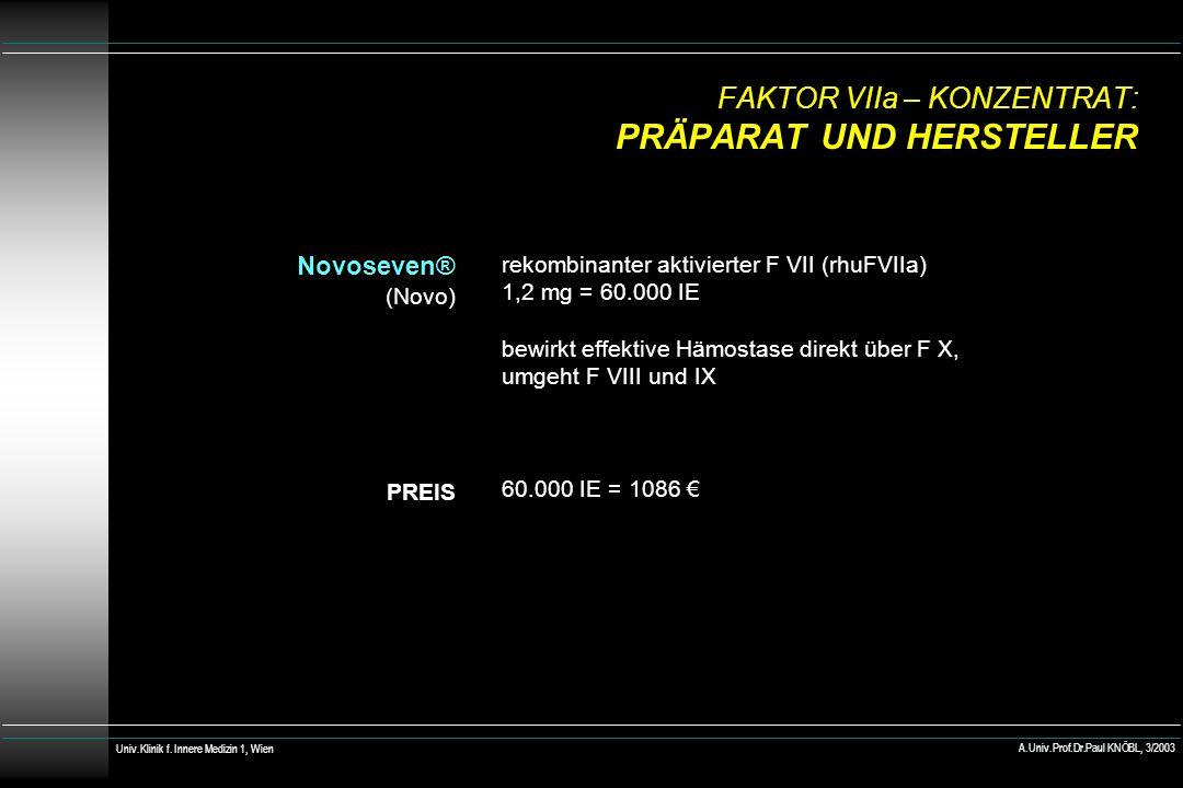 FAKTOR VIIa – KONZENTRAT: PRÄPARAT UND HERSTELLER Novoseven® (Novo) PREIS rekombinanter aktivierter F VII (rhuFVIIa) 1,2 mg = 60.000 IE bewirkt effekt