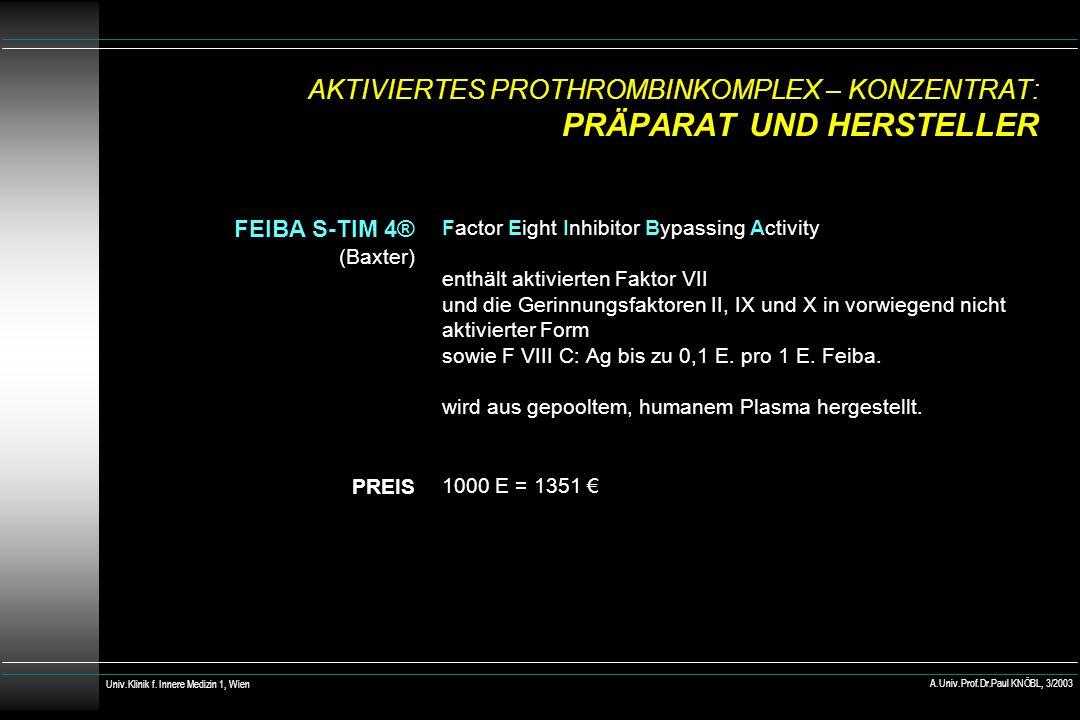 AKTIVIERTES PROTHROMBINKOMPLEX – KONZENTRAT: PRÄPARAT UND HERSTELLER FEIBA S-TIM 4® (Baxter) PREIS Factor Eight Inhibitor Bypassing Activity enthält aktivierten Faktor VII und die Gerinnungsfaktoren II, IX und X in vorwiegend nicht aktivierter Form sowie F VIII C: Ag bis zu 0,1 E.