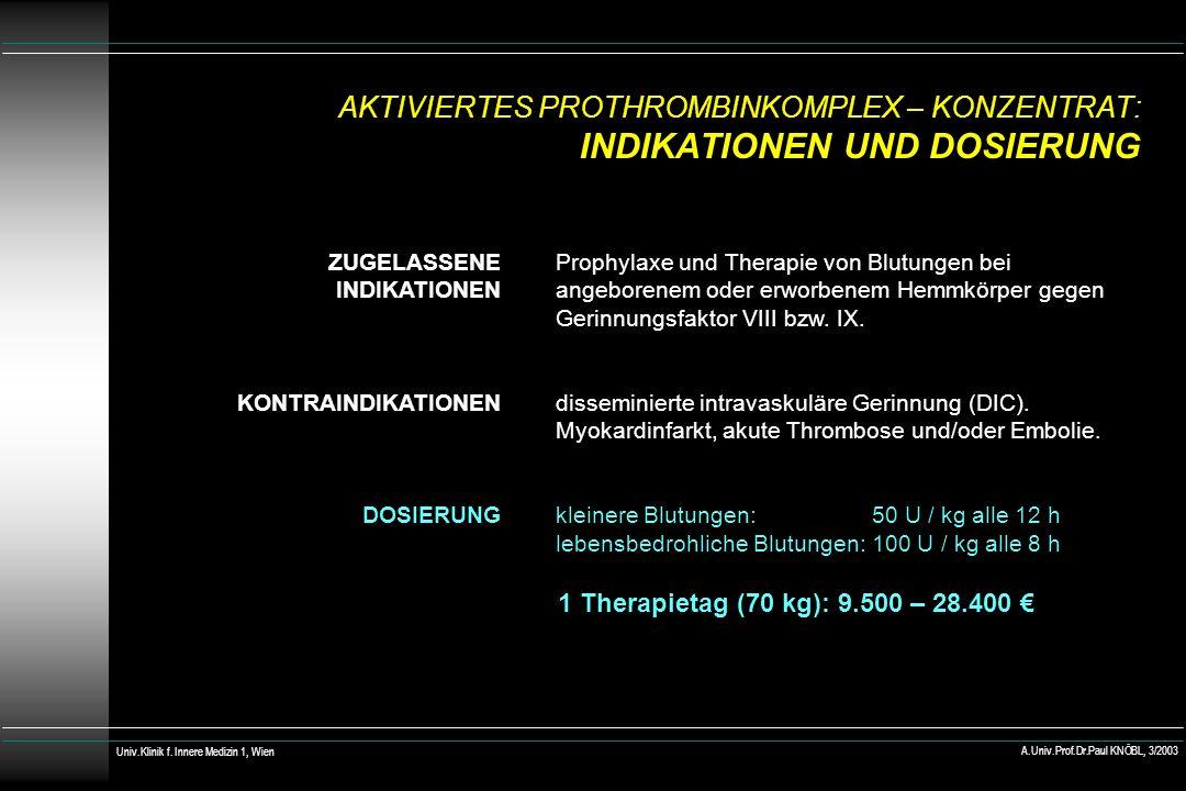AKTIVIERTES PROTHROMBINKOMPLEX – KONZENTRAT: INDIKATIONEN UND DOSIERUNG ZUGELASSENE INDIKATIONEN KONTRAINDIKATIONEN DOSIERUNG Prophylaxe und Therapie von Blutungen bei angeborenem oder erworbenem Hemmkörper gegen Gerinnungsfaktor VIII bzw.