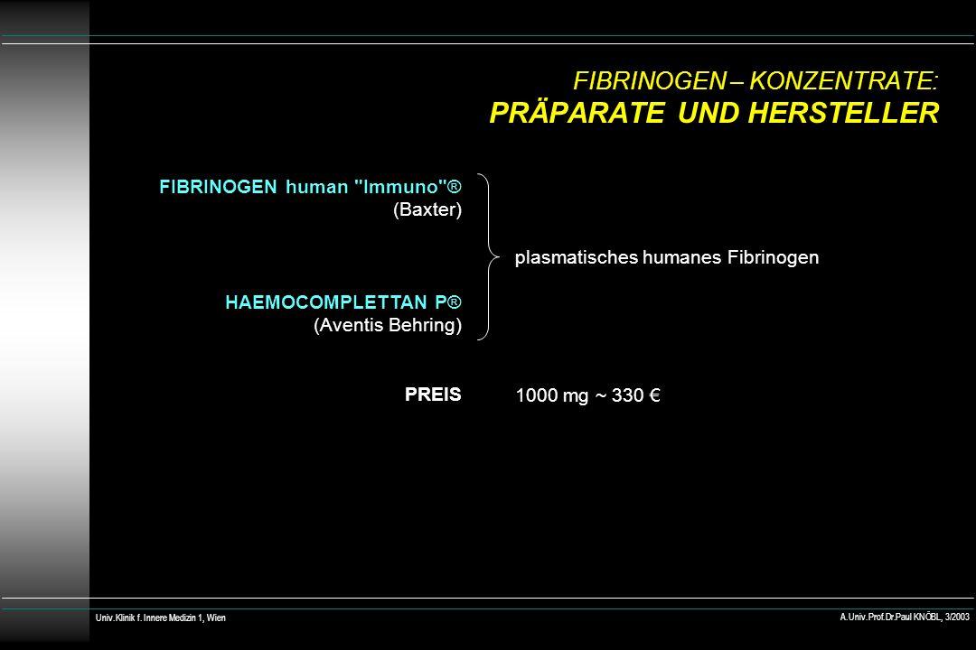 FIBRINOGEN – KONZENTRATE: PRÄPARATE UND HERSTELLER FIBRINOGEN human Immuno ® (Baxter) HAEMOCOMPLETTAN P® (Aventis Behring) PREIS plasmatisches humanes Fibrinogen 1000 mg ~ 330 Univ.Klinik f.