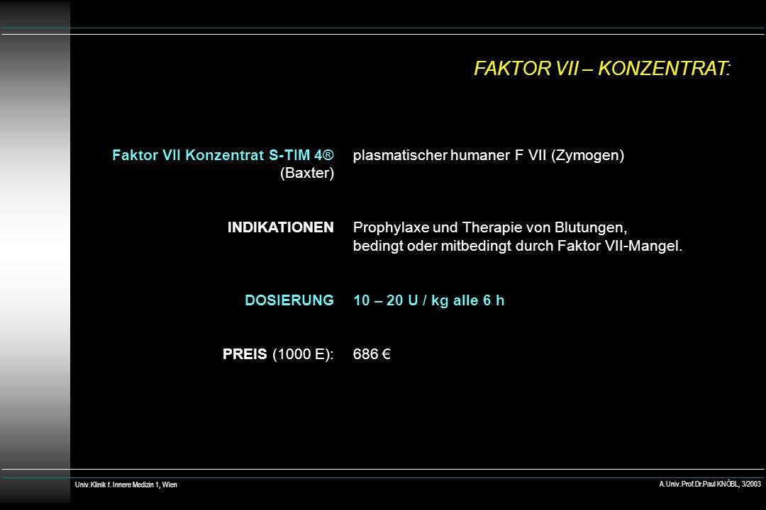 plasmatischer humaner F VII (Zymogen) Prophylaxe und Therapie von Blutungen, bedingt oder mitbedingt durch Faktor VII-Mangel. 10 – 20 U / kg alle 6 h