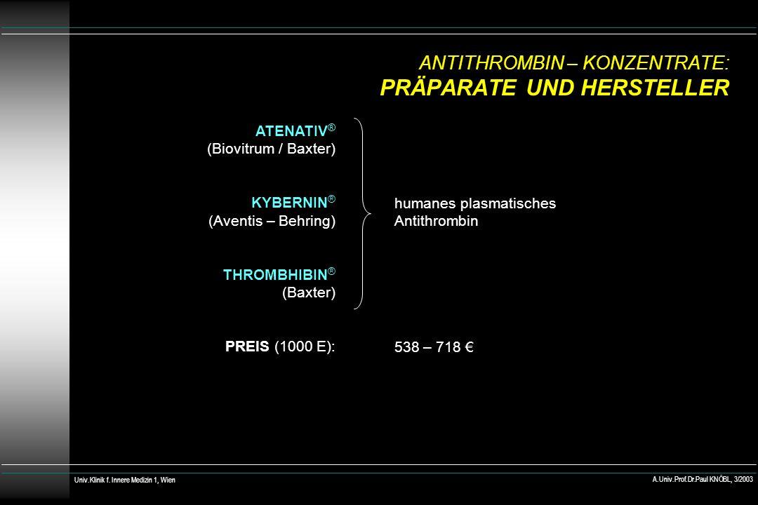 ANTITHROMBIN – KONZENTRATE: PRÄPARATE UND HERSTELLER ATENATIV ® (Biovitrum / Baxter) KYBERNIN ® (Aventis – Behring) THROMBHIBIN ® (Baxter) PREIS (1000