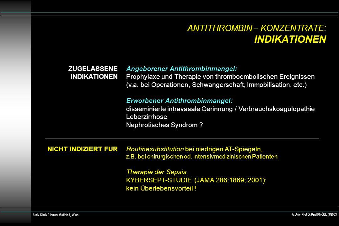 ANTITHROMBIN – KONZENTRATE: INDIKATIONEN ZUGELASSENE INDIKATIONEN NICHT INDIZIERT FÜR Angeborener Antithrombinmangel: Prophylaxe und Therapie von thromboembolischen Ereignissen (v.a.