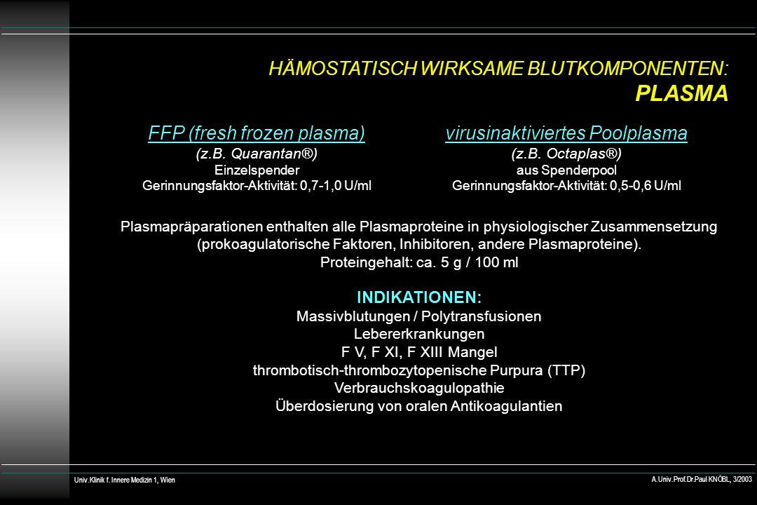 HÄMOSTATISCH WIRKSAME BLUTKOMPONENTEN: PLASMA virusinaktiviertes Poolplasma (z.B. Octaplas®) aus Spenderpool Gerinnungsfaktor-Aktivität: 0,5-0,6 U/ml
