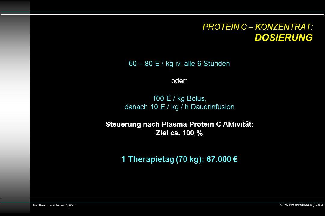 PROTEIN C – KONZENTRAT: DOSIERUNG 60 – 80 E / kg iv. alle 6 Stunden oder: 100 E / kg Bolus, danach 10 E / kg / h Dauerinfusion Steuerung nach Plasma P
