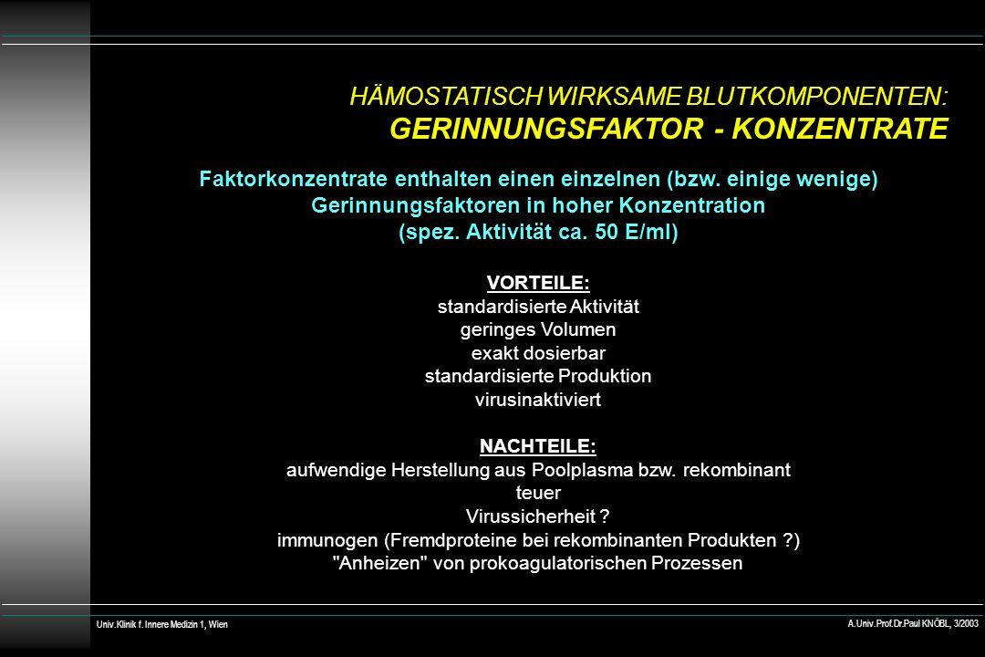 FAKTOR VIIa – KONZENTRAT: PRÄPARAT UND HERSTELLER Novoseven® (Novo) PREIS rekombinanter aktivierter F VII (rhuFVIIa) 1,2 mg = 60.000 IE bewirkt effektive Hämostase direkt über F X, umgeht F VIII und IX 60.000 IE = 1086 Univ.Klinik f.
