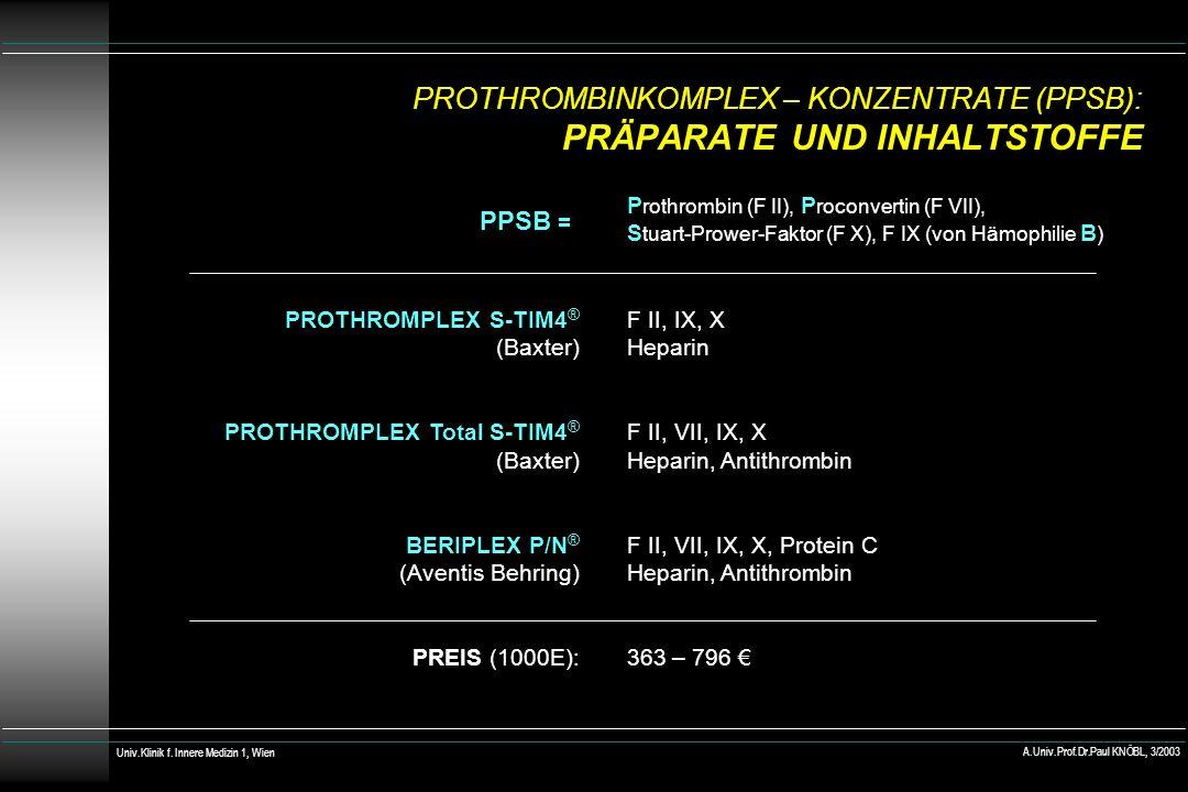 PROTHROMBINKOMPLEX – KONZENTRATE (PPSB): PRÄPARATE UND INHALTSTOFFE PROTHROMPLEX S-TIM4 ® (Baxter) PROTHROMPLEX Total S-TIM4 ® (Baxter) BERIPLEX P/N ® (Aventis Behring) PREIS (1000E): F II, IX, X Heparin F II, VII, IX, X Heparin, Antithrombin F II, VII, IX, X, Protein C Heparin, Antithrombin 363 – 796 Univ.Klinik f.