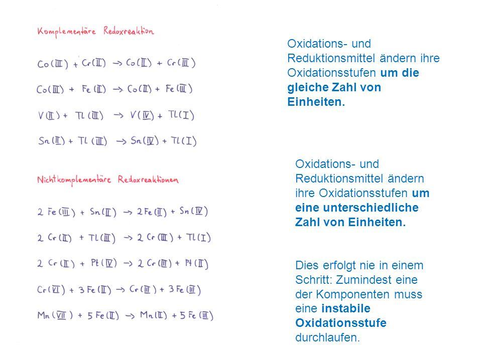 Oxidations- und Reduktionsmittel ändern ihre Oxidationsstufen um die gleiche Zahl von Einheiten. Oxidations- und Reduktionsmittel ändern ihre Oxidatio