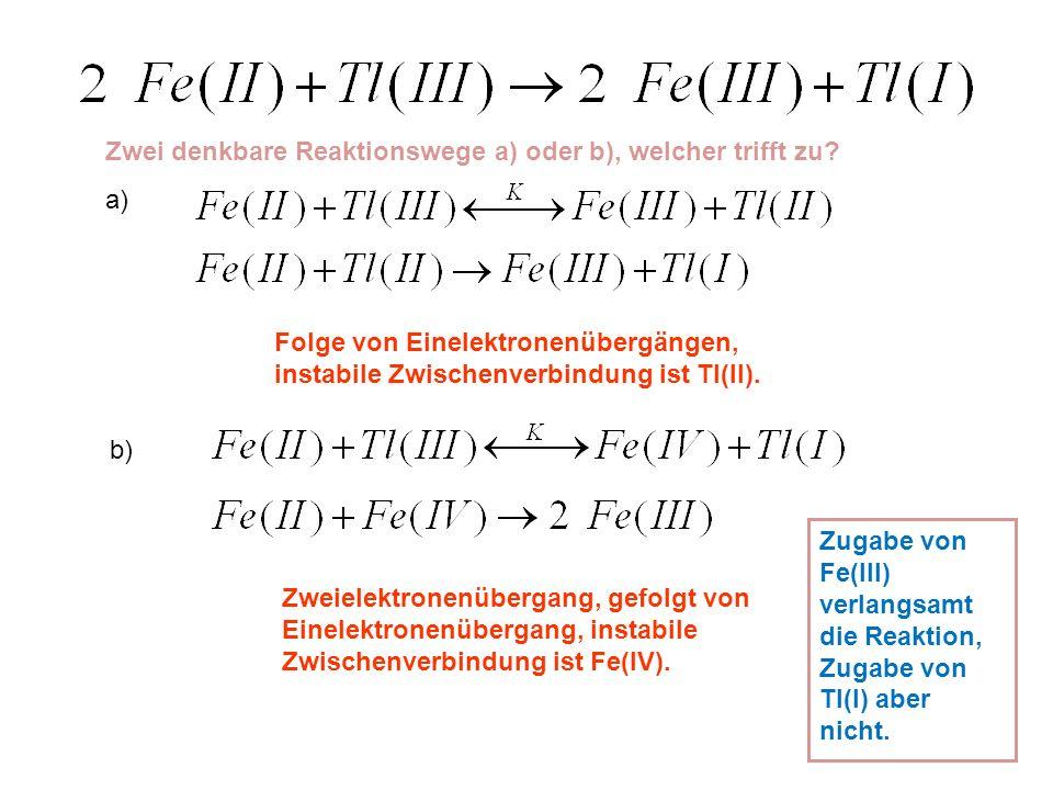 Zwei denkbare Reaktionswege a) oder b), welcher trifft zu? a) Folge von Einelektronenübergängen, instabile Zwischenverbindung ist Tl(II). b) Zweielekt