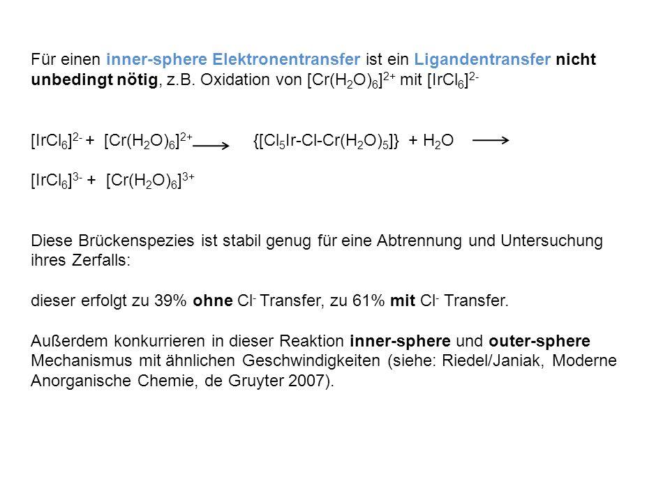 Für einen inner-sphere Elektronentransfer ist ein Ligandentransfer nicht unbedingt nötig, z.B. Oxidation von [Cr(H 2 O) 6 ] 2+ mit [IrCl 6 ] 2- [IrCl