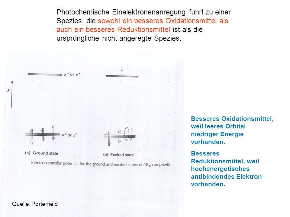 Photochemische Einelektronenanregung führt zu einer Spezies, die sowohl ein besseres Oxidationsmittel als auch ein besseres Reduktionsmittel ist als d