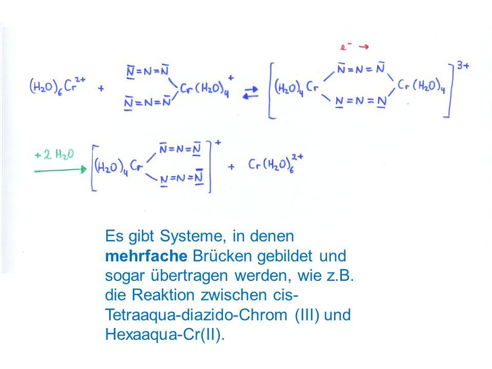 Es gibt Systeme, in denen mehrfache Brücken gebildet und sogar übertragen werden, wie z.B. die Reaktion zwischen cis- Tetraaqua-diazido-Chrom (III) un