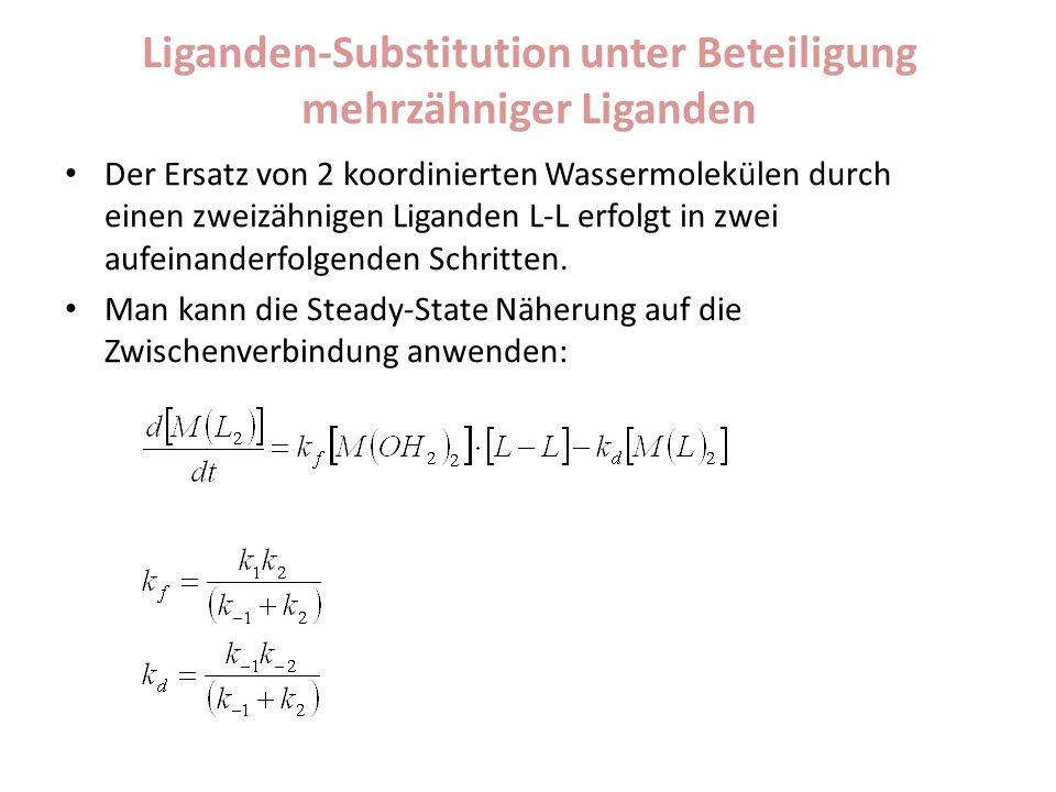 Liganden-Substitution unter Beteiligung mehrzähniger Liganden Der Ersatz von 2 koordinierten Wassermolekülen durch einen zweizähnigen Liganden L-L erfolgt in zwei aufeinanderfolgenden Schritten.