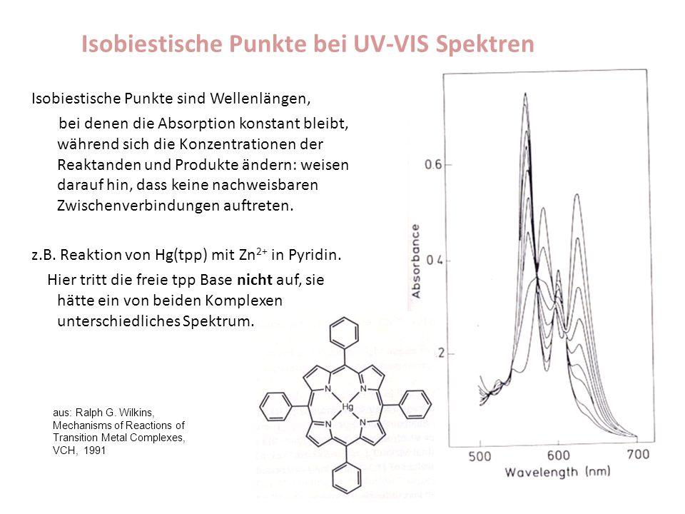 Isobiestische Punkte bei UV-VIS Spektren Isobiestische Punkte sind Wellenlängen, bei denen die Absorption konstant bleibt, während sich die Konzentrationen der Reaktanden und Produkte ändern: weisen darauf hin, dass keine nachweisbaren Zwischenverbindungen auftreten.